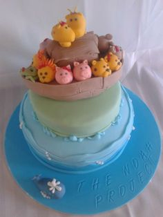 a launch cake i made for a local charity...100% edible xx #noah #ark #boat #cake #fondant #animals