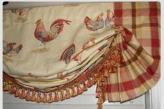 Custom French Country Balloon VALANCE Curtain Red Gold Rooster Toile Plaid Trim in Home & Garden, Window Treatments & Hardware, Curtains, Drapes & Valances