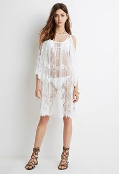 FOREVER 21 Open-Shoulder Eyelash Lace Dress