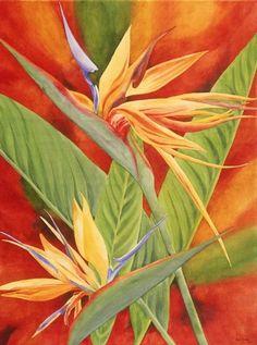 Heidi Rosner Watercolor Bird of Paradise Flower Art
