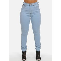 High Waisted Skinny Jeans (Light Wash) ($20) ❤ liked on Polyvore featuring jeans, bottoms, pants, blue jeans, skinny fit jeans, high waisted jeans, high-waisted skinny jeans and light wash jeans