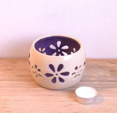 Ceramic tea light holder. Wheel thrown Lavender candle