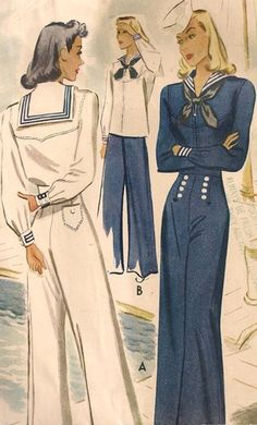 "(¯`'•.ೋ RARE Vintage 1940s Sailor Suit Costume Sewing Pattern 30"" Bust #MC4105 