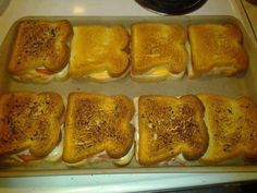 The Amazing bar pan!! 8 grilled cheese sandwiches all done at the same time in the oven, crispy, melted warm cheese and anything else you want to add! Just bake for 10mins at 350, only butter the tops lightly, no flipping necessary! Have this bar pan? Message me for recipes - Need it? www.pamperedchef.biz/tinakennedy