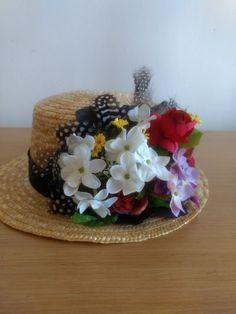Armani icon Canotier Hat Head Celebrities Runway Flowers Feathers COOL OFFER  #Handmade #PartyEveryDayGoodLookWedding