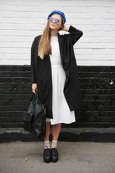 Oversized Trench Coat Black, Pinafore Midi Dress White, Boxy Crop Top Ivory and Simple Wedge Brogue Black http://www.thewhitepepper.com