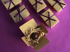 Teeny kraft ballottin boxes filled with wood wool & chocolate...
