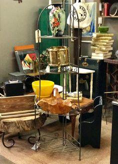 "Garden Stand On Sale   20"" Wide x 14"" Deep x 63.5"" High   Was $98 Sale Price $58  Vintage Affection Dealer #1680  White Elephant Antiques 1026 N. Riverfront Blvd., Dallas, TX 75207"