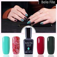 Belle Fille Wine Red Gel Nail Polish Green Color Bling Pink Nail Gel Polish UV Gel Varnish for UV LED Lamp Beauty Makeup Gel