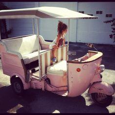 Vintage Pink Piaggio Ape- Vespa Scooter Rickshaw