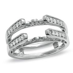 1/2 CT. T.W. Diamond Vintage-Style Cathedral Guard in 14K White Gold