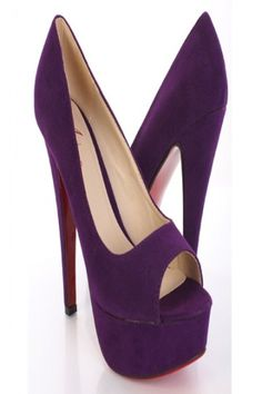 4feca98d7d8a Purple Faux Suede Peep Toe Platform Pump Heels By Amiclubwear  13 High Heel  Pumps