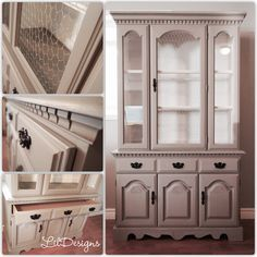 Beautiful Country Elegant China Hutch Refinished in French Linen Gray and waxed for protection.   Features;  - 1 Galvanized chicken wire in the centre panel door.  - 2 Glass Shelves  - Interior Lighting  - 1 Drawer with 3 black metal handles  - 2 raised panel cathedral arch doors.   Dimensions;  Buffet: 44 in. W x 17 in. D x 28 in. H  Hutch: 44 in. W x 17 in. D x 45 in. H  Overall: 44 in. W x 17 in. D x 73 in. H   Price: $450 Arched Doors, Panel Doors, Painted Buffet, Raised Panel, Chicken Wire, Glass Shelves, Country Chic, Beautiful Interiors, Dining Furniture