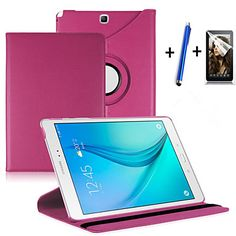 """New+360+Rotating+PU+Leather+Stand+Case+Cover+For+Samsung+Galaxy+Tab+A+9.7""""+SM-T550+Tablet+Stylus+Film+–+CAD+$+11.11"""