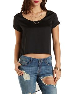 High-Low Satin & Chiffon Top by Charlotte Russe - Black