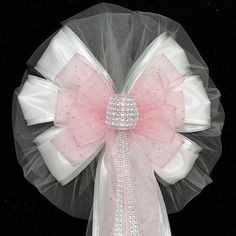 Light Pink Bling Glitter and White Wedding Pew Bows Church Aisle Decorations