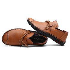 Men's Stitching Soft Sole Lace Up Decoration Casual Driving Loafers