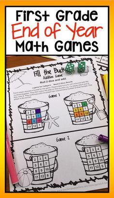 A NO PREP math game from End of Year Math Games for First Grade.  #firstgrade #mathgames #mathcenter #firstgrademath