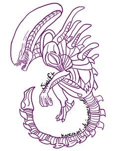 xenomorph outline drawing google tattoo zeichnen reiseziele gemerkt