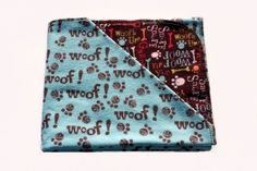 "Aqua Woof Puppy Tyme Hemstitched Flannel Blanket Kit (Large 36"" x 50"")"