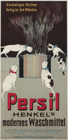 """Persil - Henkel's modern detergent"" advertising poster (The first poster for Persil) - Anonymous Designer - Henkel & Co., Dusseldorf., Germany, 1907"