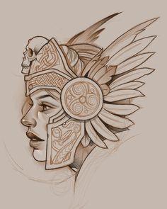 Art Drawings Sketches, Tattoo Sketches, Tattoo Drawings, Tattoo Ink, Sketch Tattoo Design, Tattoo Designs, Tattoo Guerreiro, Calaveras Mexicanas Tattoo, Zeus Tattoo