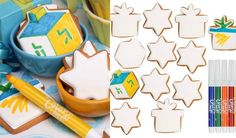 """Color Me"" Kosher Hanukkah Cookies - Holiday Kid Crafts Ideas by Eleni's NY - mazelmoments.com"