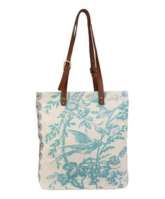 Sky Birdsong Harper Linen & Leather Tote
