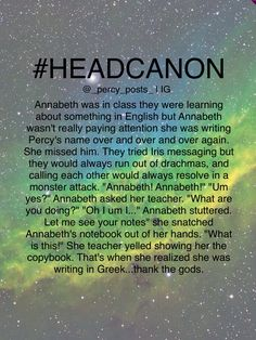 A Percy Jackson Headcanon from @_percy_posts_ on Instagram