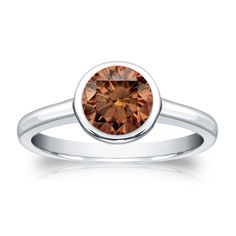 Auriya 14k Gold 1ct TDW Bezel Round Cut Brown Diamond Solitaire Engagement Ring (Brown, SI1-SI2) (White Gold - Size 9), Women's