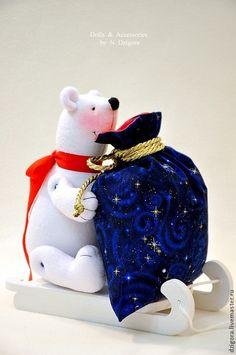 Купить Ушастик Клаус - ярко-красный, игрушка заяц, игрушка зайка, новогодний заяц