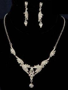 Silver Marquise Pear Rhinestone Wedding Bridal Necklace Earring Jewelry Set