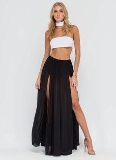 Pleated High Waisted Sheer Maxi Skirt in Black ($27) ❤ liked on ...