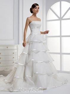 A-ラインストラップレス飾り帯レイヤードロングフロアチャペルウェディングドレス