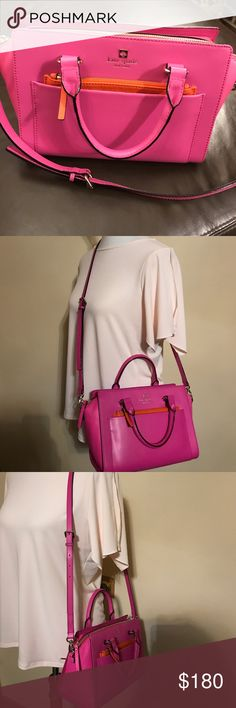 kate spade Satchel And Small Wallet Beautiful, candy pink bag and small wallet. Both elegant. Bag has two leather textures, one orange zipped pocket. Hand and crossbody bag. The wallet has an orange trim and has a chain for the key. New without a price tags. kate spade Bags Satchels