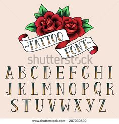 Set of tattoo style letters, alfabeth for your design.  - stock vector