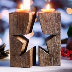 Star Candle holders (Woodworking Ebanisteria)
