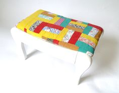 Vintage Shabby Chic Small Foot Stool ... White Wood Stool, Quilt Top, Petite, Foot Rest, Red and Yellow Footrest, Cottage Chic on Etsy, $42.00