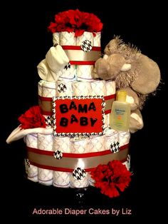 Roll Tide Alabama College Three Tier Baby Shower Diaper Cake w/ Elephant, Name Sign and FREE Monogram. Any Collegiate Theme Avail Alabama College, Alabama Baby, Sweet Home Alabama, Alabama Crimson Tide, Alabama Football, Baby Shower Diapers, Baby Boy Shower, Baby Showers, My Sweet Audrina