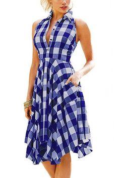 Blue Grid Pattern English Collar Sleeveless Dress