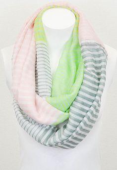 Pink & Green Neon Stripe Infinity Scarf