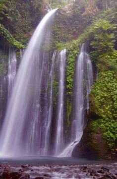 Sendang Gile Waterfall is located just north of Rinjani volcano, In the north region of the island of Lombok in Indonesia. Lombok, Volcano, Waterfall, Island, Pictures, Outdoor, Block Island, Outdoors, Photos