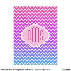 Personalized Monogram Rainbow Ombre Chevron Girl Fleece Blanket