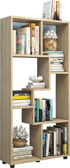 Wandkast boekenkast Blina design 5 vakken lichtbruin | Vergelijkprijs.nl Divider, Modern Design, Bookcase, Shelves, Interior, Furniture, Home Decor, Products, Friends Girls