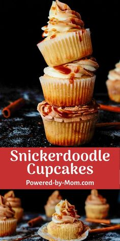 This Snickerdoodle Cupcake is a decadent dessert with fresh buttercream and for a tasty twist homemade caramel sauce = scrumptious. #cupcakes #desserts #snickerdoodles #snickerdoodlecupcakes #saltedcaramel #caramel #easydessert #easyrecipe #recipe Easy Cupcake Recipes, Cupcake Flavors, Homemade Desserts, Best Dessert Recipes, Homemade Cakes, Easy Desserts, Delicious Desserts, Breakfast Recipes, Chocolate Dipped Fruit