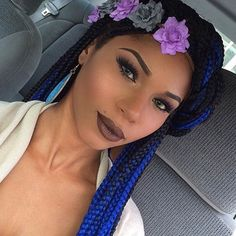 #Braid Hairstyles - Grow Long Hair & Regrow Thinning Bald Spots... CLICK LINK  ---->  http://www.dawnali.com/long-real-black-hair-natural-and-relaxed-super-growth-oils/  - Dawn Ali #dawnali - Black and Blue Box Braids + Cute Floral Headband