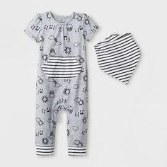 7acb463f4 Baby Girls' 2pc Short Sleeve Jersey Romper and Bib Set - Cat & Jack™ Heather  Gray 6-9M
