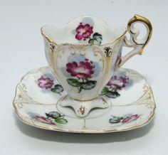 Ucagco China Occupied Japan Floral Teacup & Saucer Set