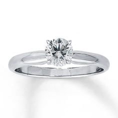 Jared 14K White Gold 5/8 Carat Diamond Solitaire. If only the band didn't taper by the diamond:/