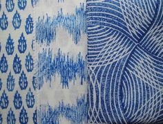 Fabric designs 'Flame' 'Seismograph' and 'Oasis' in brilliant blue ©Paravent